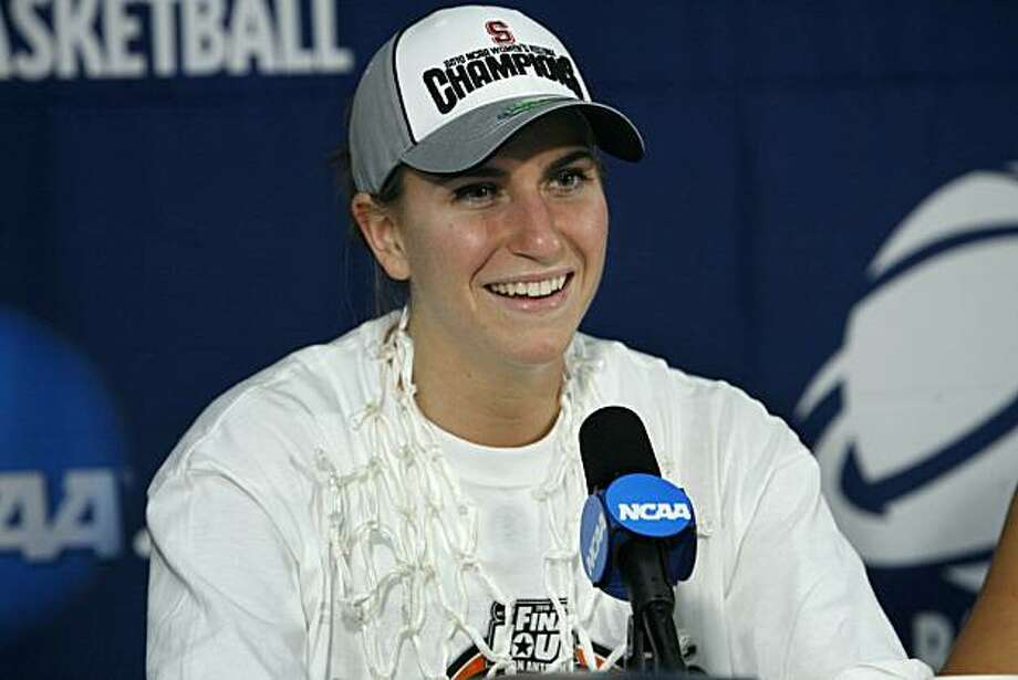 Stanford guard Jeanette Pohlen talks about her game winning shot against Xavier during the post game news conference after the NCAA Sacramento Regional final college basketball game in Sacramento, Calif., on Monday, March 29, 2010. Stanford won 55-53. Photo: Steve Yeater, AP