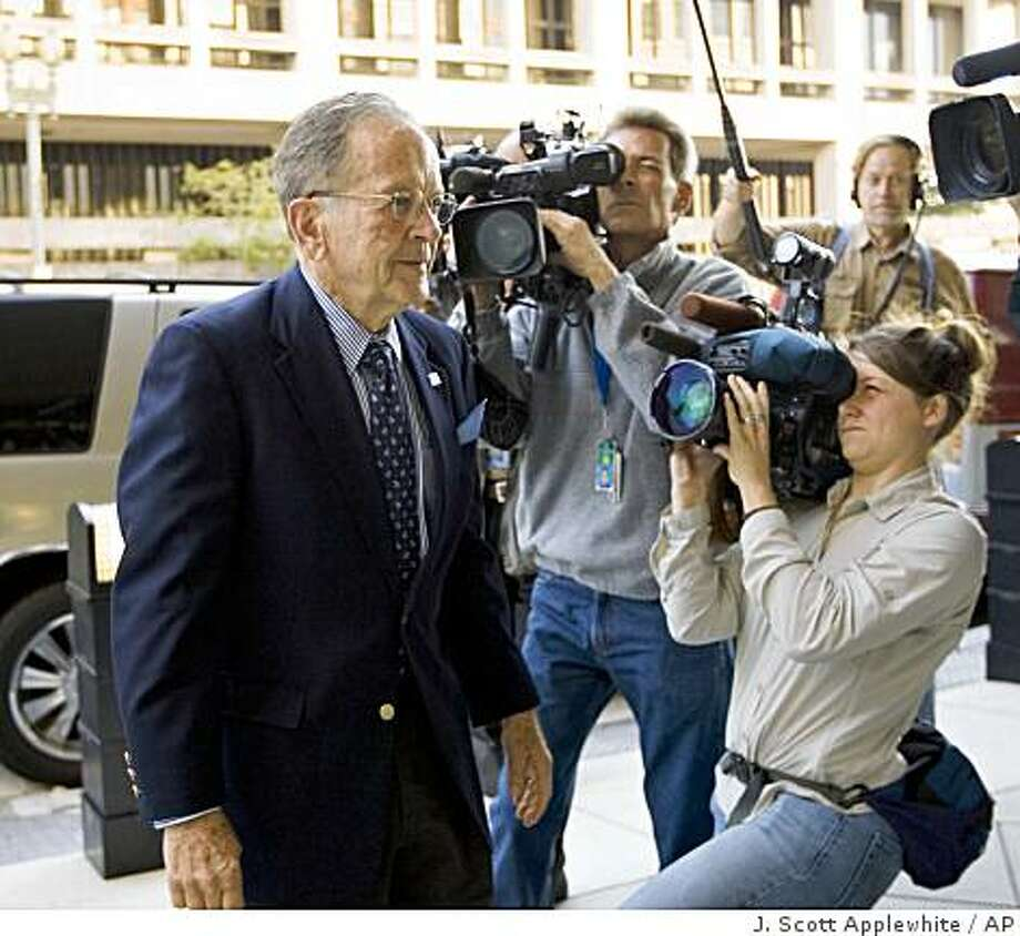 Sen. Ted Stevens, R-Alaska arrives at federal court in Washington, Monday, Sept. 22, 2008, on the first day of his trial on corruption charges. (AP Photo/J. Scott Applewhite) Photo: J. Scott Applewhite, AP