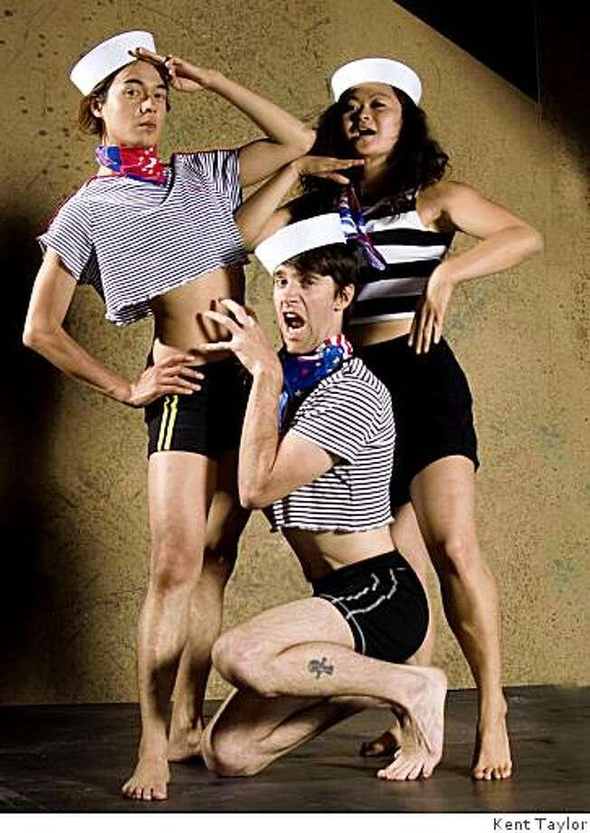 "Jean Franco Pilas (left) as Pierre, Jarrod Pirtle as Dagoo and Linda Wang as Tashtego in Theatre Rhinoceros' ""Moby Dick! The Musical."" Photo: Kent Taylor"