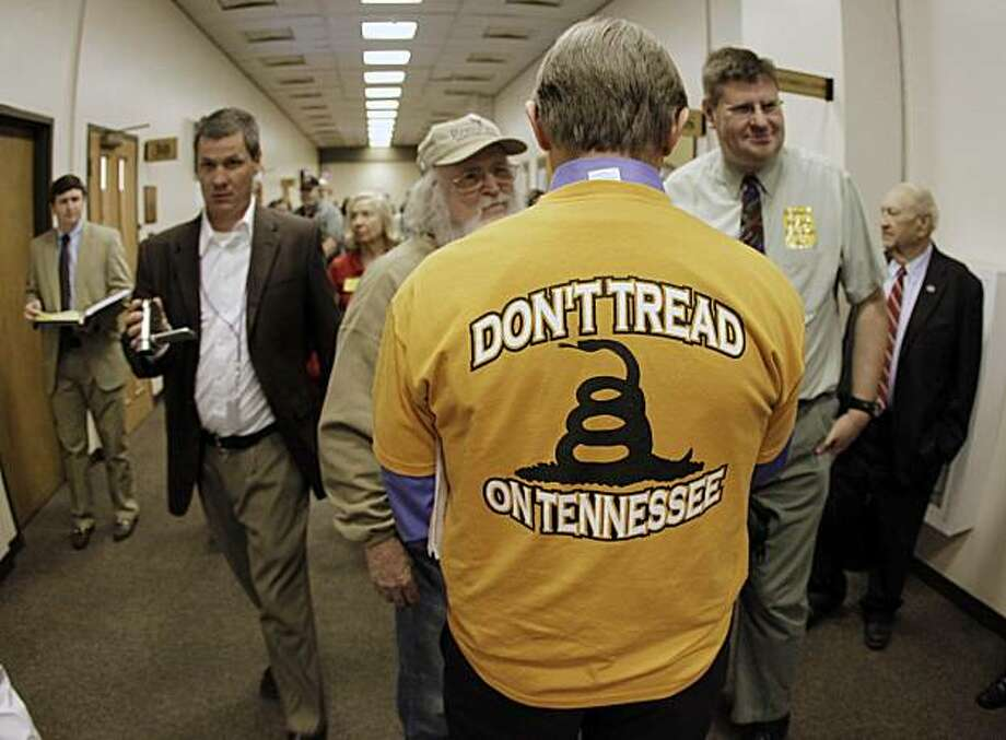 Fred Childress, of Oak Ridge, Tenn., wears a T-shirt showing his opposition to President Barack Obama's federal health care overhaul Wednesday, March 31, 2010, at the Legislative Plaza in Nashville, Tenn. Photo: Mark Humphrey, AP