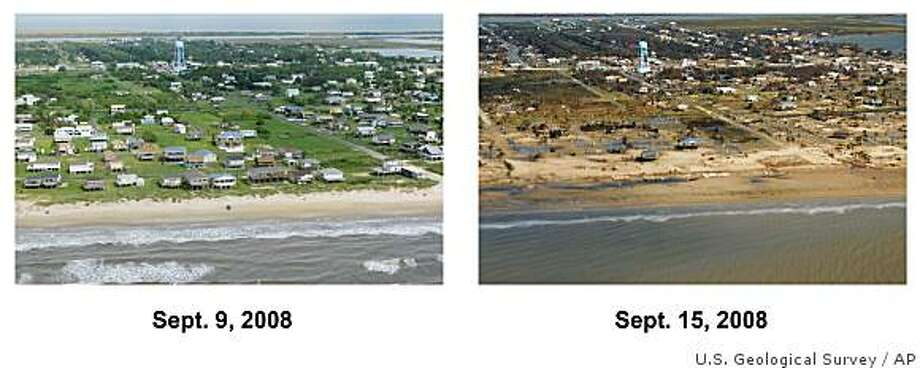 ** SEE PICTURE TXRH102 ** These pictures provided by the U.S. Geological Survey shows Crystal Beach, Texas on the Bolivar Peninsula, on Tuesday, Sept.  9, 2008 two days before the landfall of Hurricane Ike, and Monday, Sept. 15, 2008, afterwards. The Gulf of Mexico is in the foreground. (AP Photo/U.S. Geological Survey) Photo: U.S. Geological Survey, AP
