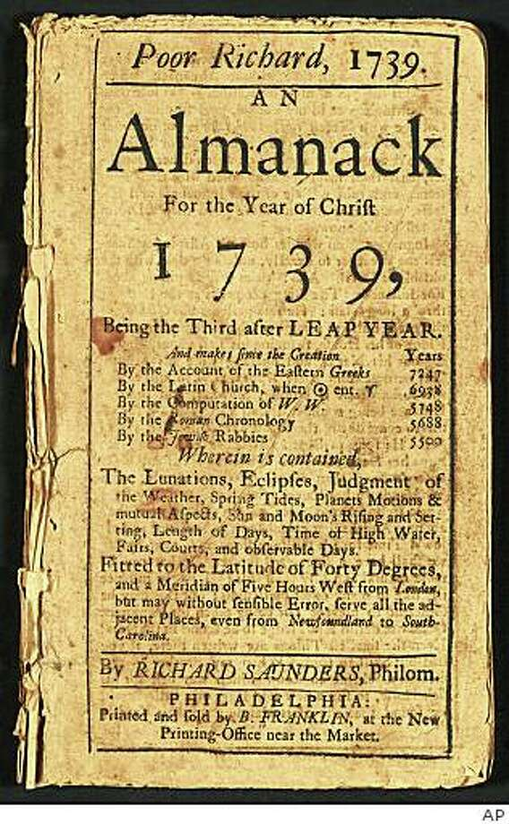 "This image released by the Library of Congress shows the cover page of ""Poor Richard: An Almanac,"" 1739 by ""Richard Saunders,"" one of Benjamin Franklin's pseudonyms. Photo: Ap, AP"