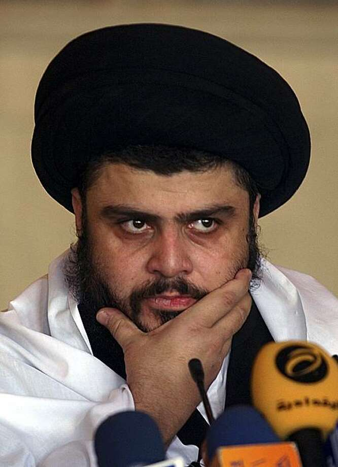 In this Sept 22, 2006. file photo, Shiite cleric Muqtada al-Sadr delivers a Friday sermon, in Kufa, Iraq. The Iraqi prime minister's efforts to forge a Shiite alliance appeared to inch closer Wednesday after he met for the first time with members of the political alliance led by anti-American cleric, Muqtada al-Sadr, who's been one of the prime minister's staunchest critics. Photo: Alaa Al-Marjani, AP