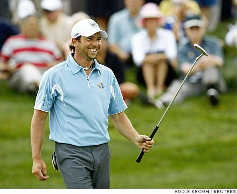 Spain's Sergio Garcia of the European Ryder Cup team smiles on the ninth green during practice for the 37th Ryder Cup Championship at the Valhalla Golf Club in Louisville, Kentucky September 16, 2008.     REUTERS/Eddie Keogh (UNITED STATES) Photo: EDDIE KEOGH, REUTERS