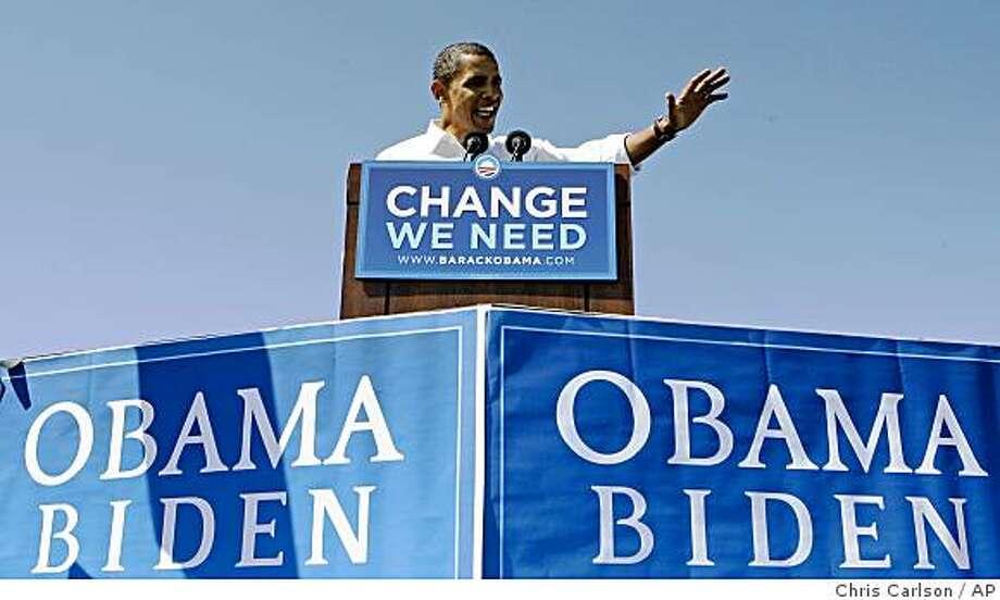 Democratic presidential candidate, Sen. Barack Obama, D-Ill., speaks during a rally in Espanola, N.M., Thursday, Sept. 18, 2008.  (AP Photo/Chris Carlson) Photo: Chris Carlson, AP
