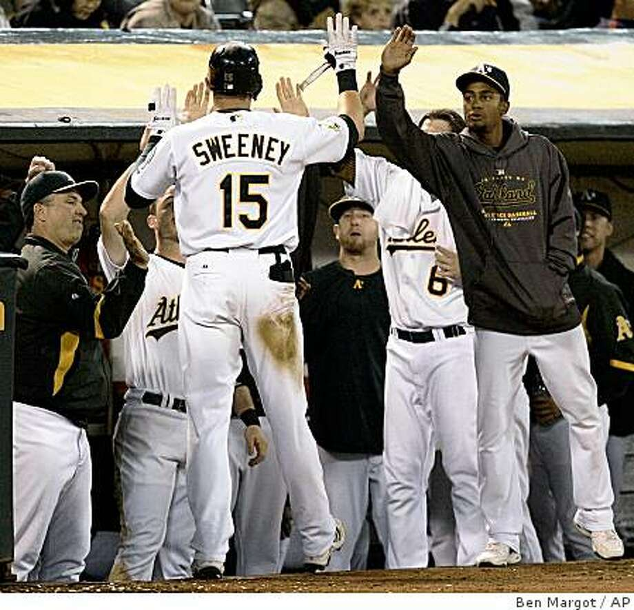 Oakland Athletics' Ryan Sweeney (15) is welcomed back to the dugout after scoring against the Seattle Mariners during the fourth inning of a baseball game Friday, Sept. 19, 2008, in Oakland, Calif. (AP Photo/Ben Margot) Photo: Ben Margot, AP