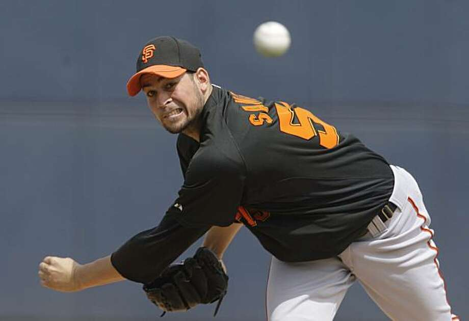 San Francisco Giants' Jonathan Sanchez throws against the Milwaukee Brewers in the first inning of a spring training baseball game Monday, March 29, 2010, in Phoenix. Photo: Ross D. Franklin, AP