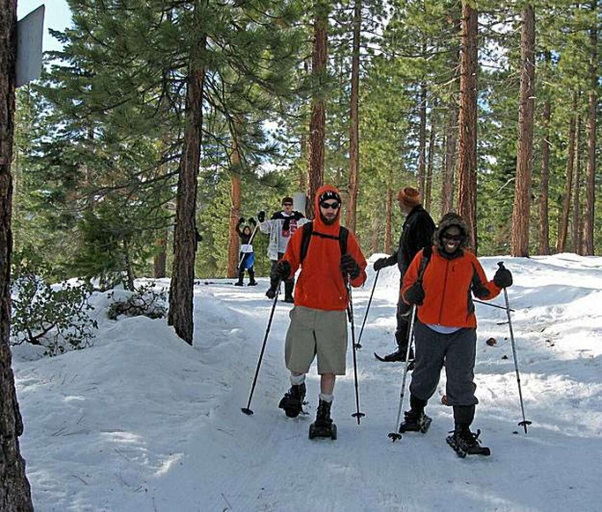 Sierra snowshoeing tours day or night- re offered by a Tahoe company through the end of snow season. Tahoe Adventure Co.