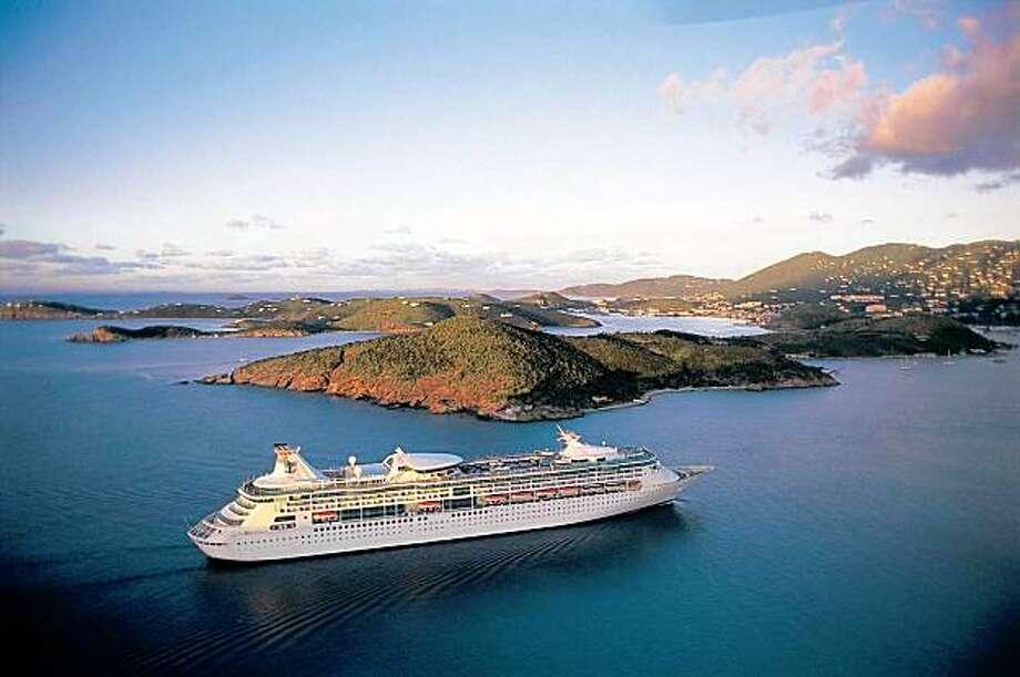 Aerial shot of Granduer of the Seas, a Royal Caribbean Cruise Line ship. Photo: Courtesy, Royal Caribbean International