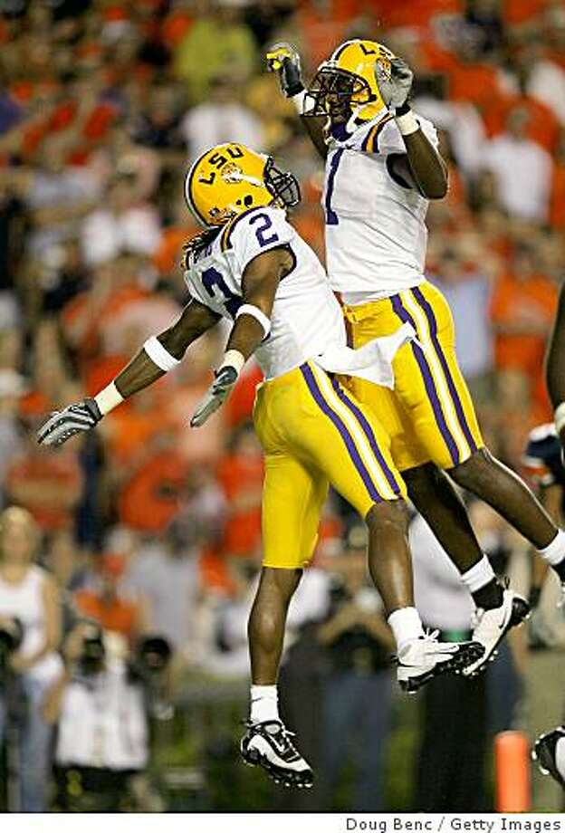 AUBURN, AL - SEPTEMBER 20:  Brandon LaFell #1 and Demetrius Byrd #2 of the LSU Tigers celebrate a touchdown catch by Byrd against the Auburn Tigers at Jordan-Hare Stadium on September 20, 2008 in Auburn, Alabama.  (Photo by Doug Benc/Getty Images) Photo: Getty Images
