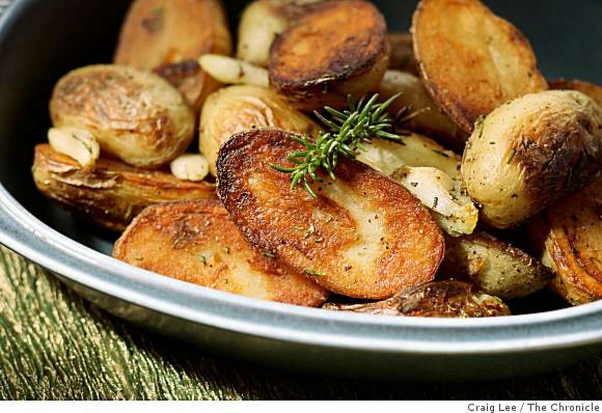 Roasted potatoes with rosemary infused lard, in San Francisco, Calif., on September 11, 2008. Food styled by Emma Sullivan.