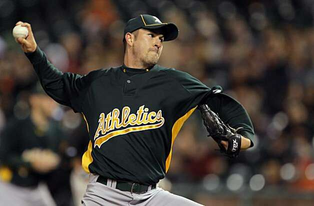 Starting pitcher for the Oakland Athletics, Justin Duchscherer. The San Francisco Giants played the Oakland Athletics in a preseason game at AT&T Park in San Francisco, Calif., on Thursday, April 1, 2010. Photo: Carlos Avila Gonzalez, The Chronicle