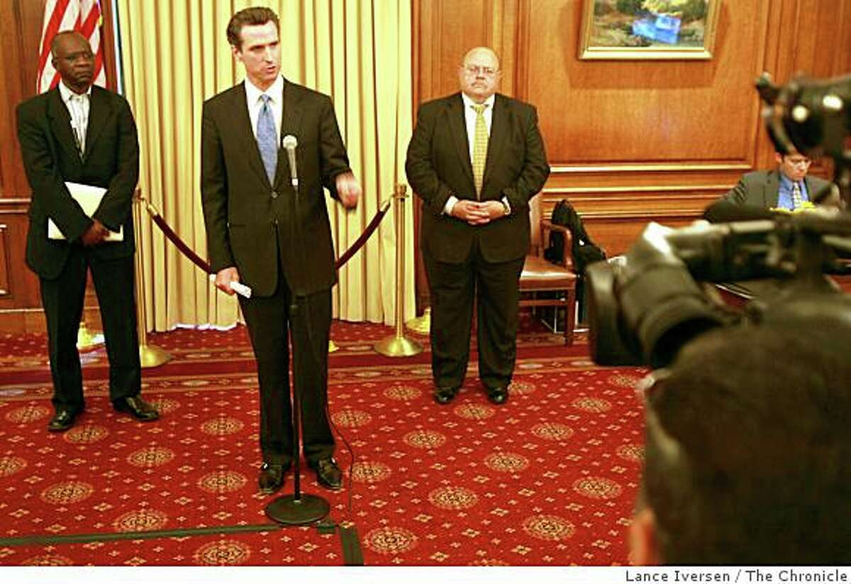 Mayor Newsom is seen with probation officials Allen Nance (left) and William Siffermann on July 1, 2008 in San Francisco, Calif. Photo by Lance Iversen / The Chronicle