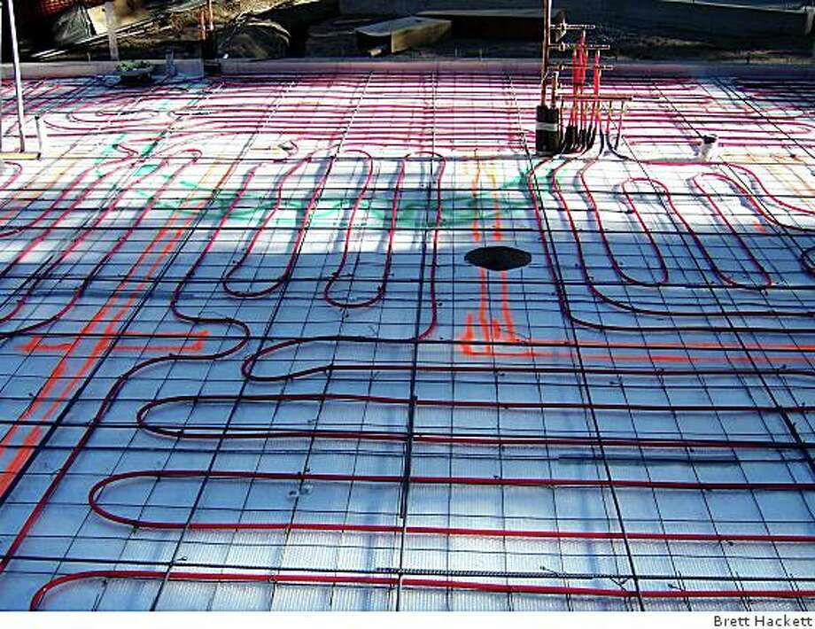 "The ""guts"" of radiant heating in a floor in a house in Tahoe. This will be covered with concrete. It's the first residential property in the area expected to have a Gold rating from LEED (Leadership in Energy and Environmental Design)."