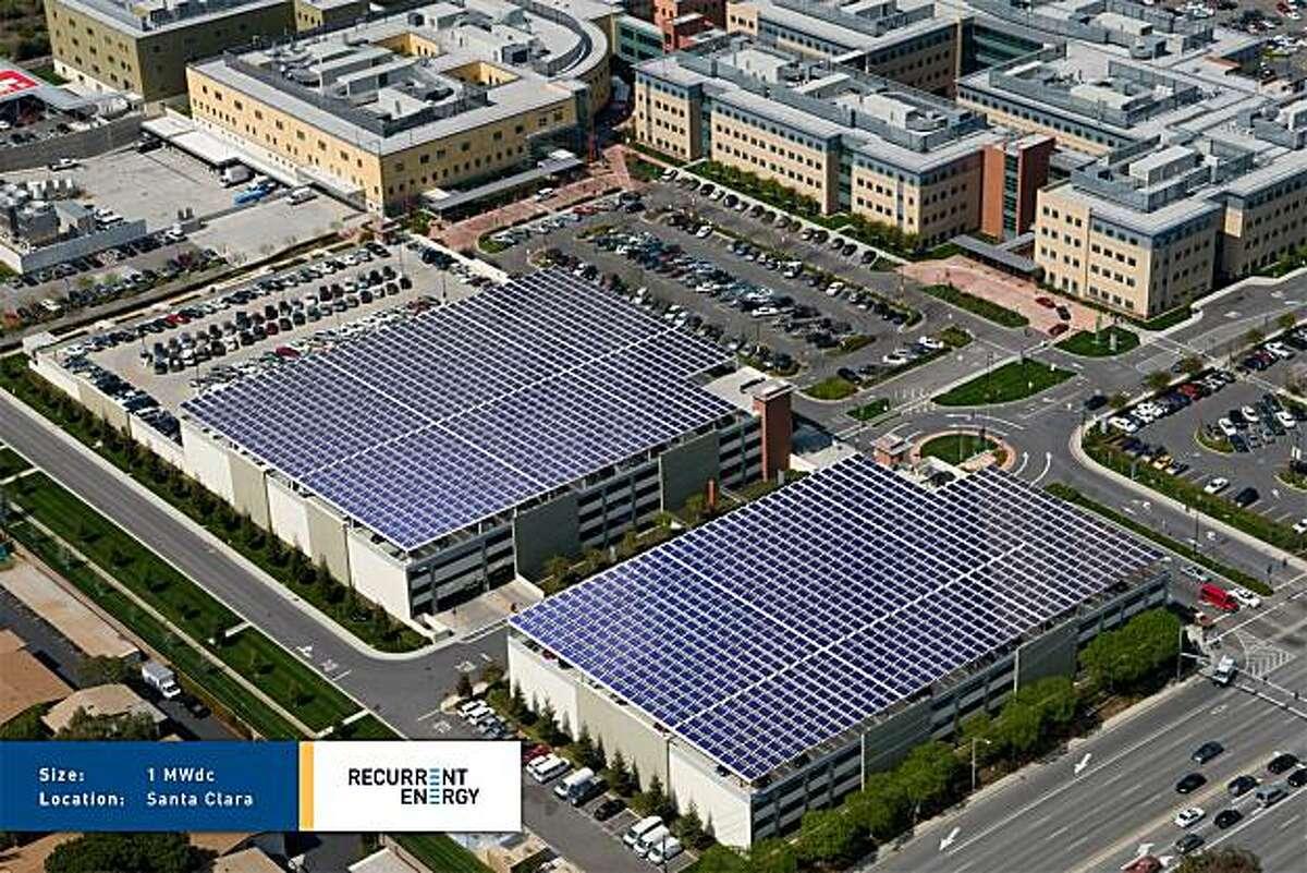 Artist's rendering of a one-megawatt solar installation above the existing parking garages at Kaiser Permanente Santa Clara Medical Center.