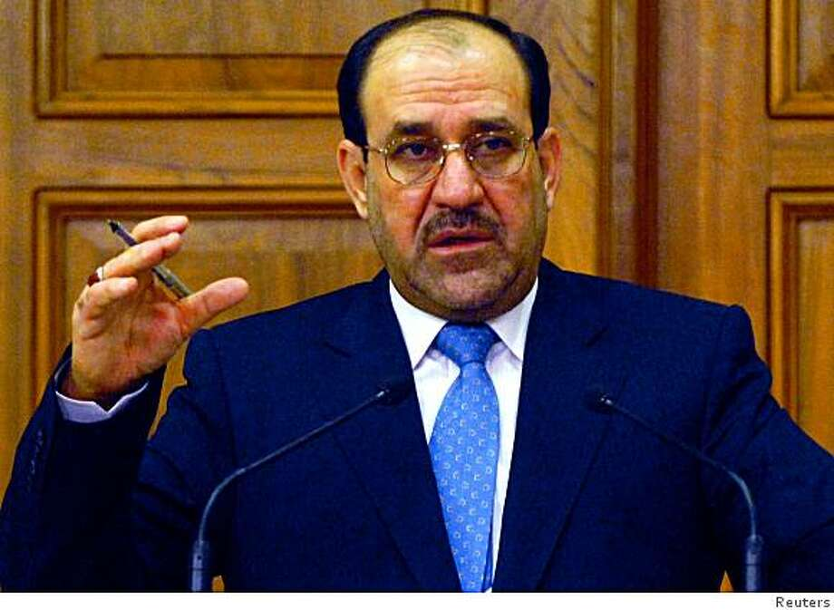 Iraqi Prime Minister Nuri al-Maliki speaks during a news conference in Baghdad April 30, 2008.    REUTERS/Iraqi Government Handout (IRAQ).  FOR EDITORIAL USE ONLY. NOT FOR SALE FOR MARKETING OR ADVERTISING CAMPAIGNS. Photo: HO, Reuters