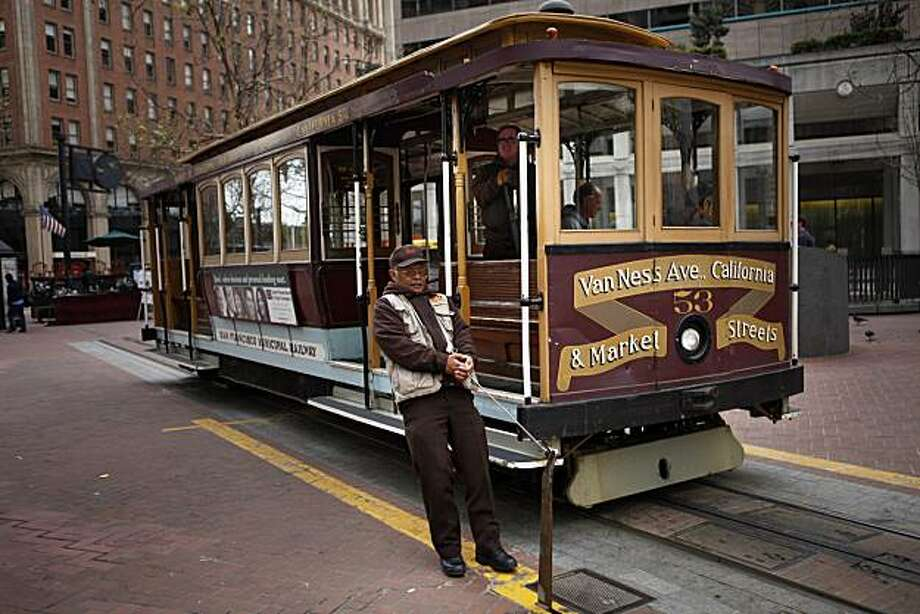 Frank Ware, conductor, releases the cable for the San Francisco cable car California line in San Francisco, Calif. on Wednesday, March 24, 2010. The California line will be closed beginning January 1 to July 1 for repairs and rebuilding funded through Measure K, the San Francisco transportation sales tax. Photo: Lea Suzuki, The Chronicle