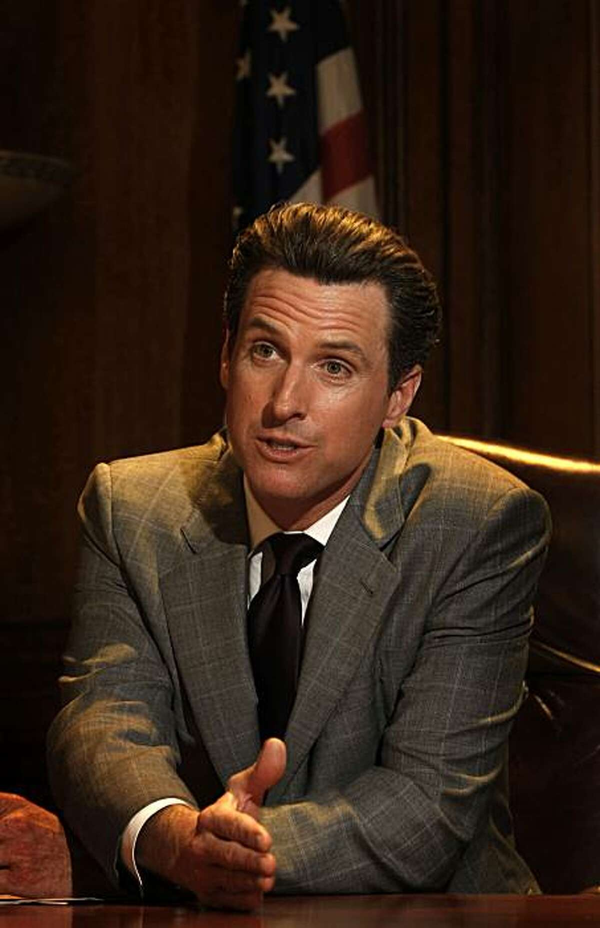 Mayor Gavin Newsom shares his thoughts on the decision by the California Supreme Court to uphold Proposition 8 which defines marriage between a man and a woman, in his City Hall office in San Francisco, Calif. on Tuesday May 26, 2009.