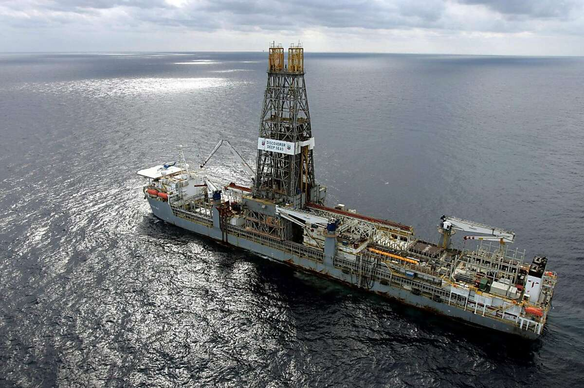 ** FILE ** In this March 28, 2006 file photo, the Discoverer Deep Seas drillship sits on station off the coast of Louisiana as Chevron drills for oil in the Gulf of Mexico. As the House and Senate reconvene Monday after back-to-back political conventions, both parties eager to use the three-week session to show voters why their candidates are the ones to fix the economy and lower energy prices. Republicans have made the Democrats' reluctance to open up more offshore areas to oil drilling the major theme in their effort to minimize the anticipated loss of GOP House and Senate seats in November. (AP Photo/Alex Brandon, File)