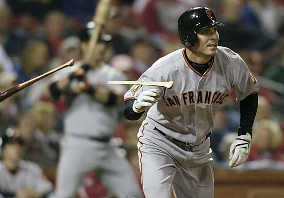 San Francisco Giants' John Bowker tosses his broken bat after flying out in the fourth inning against the St. Louis Cardinals in a baseball game, Friday, April 18, 2008 in St. Louis.(AP Photo/Tom Gannam) Photo: Tom Gannam, AP