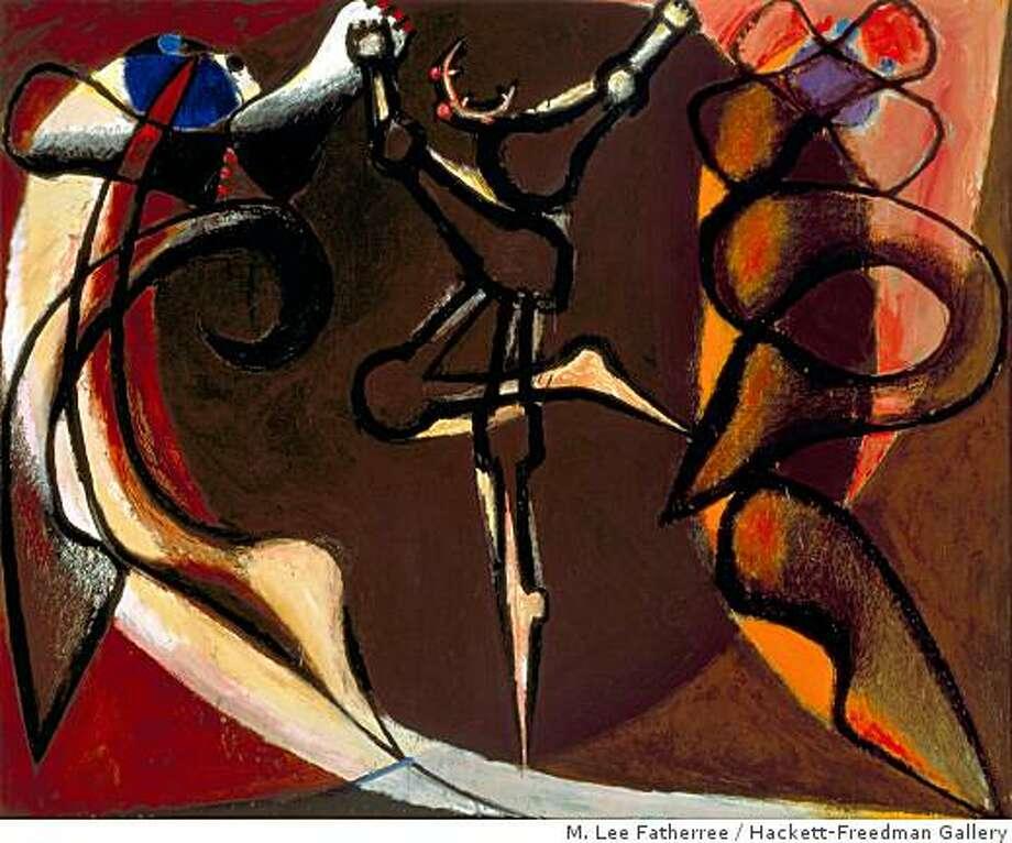 """Dance I"" (1969) oil on canvas by Frank Lobdell, 60"" x 74"" Photo: M. Lee Fatherree, Hackett-Freedman Gallery"