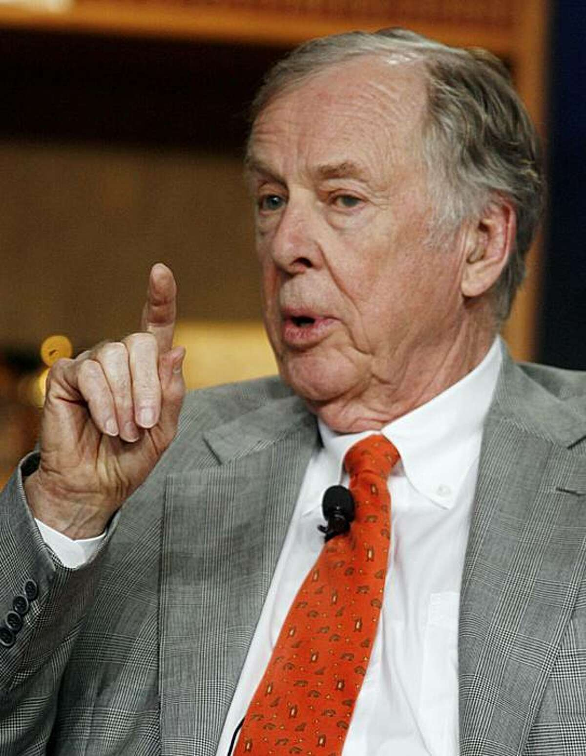 Boone Pickens, philanthropist and founder of BP Capital speaks during a panel titled