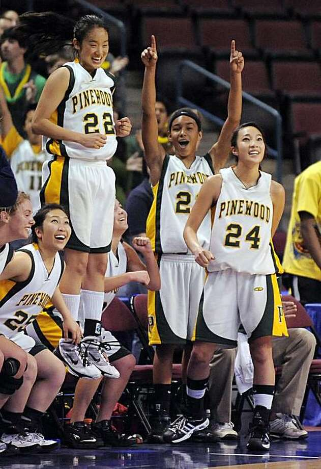 Pinewood in Los Altos Hills team members celebrate as they defeat St. Anthony in Long Beach in the Girls Division V CIF State Basketball Championship game, Saturday, March 27, 2010, in Bakersfield, Calif. Photo: Mark J. Terrill, AP