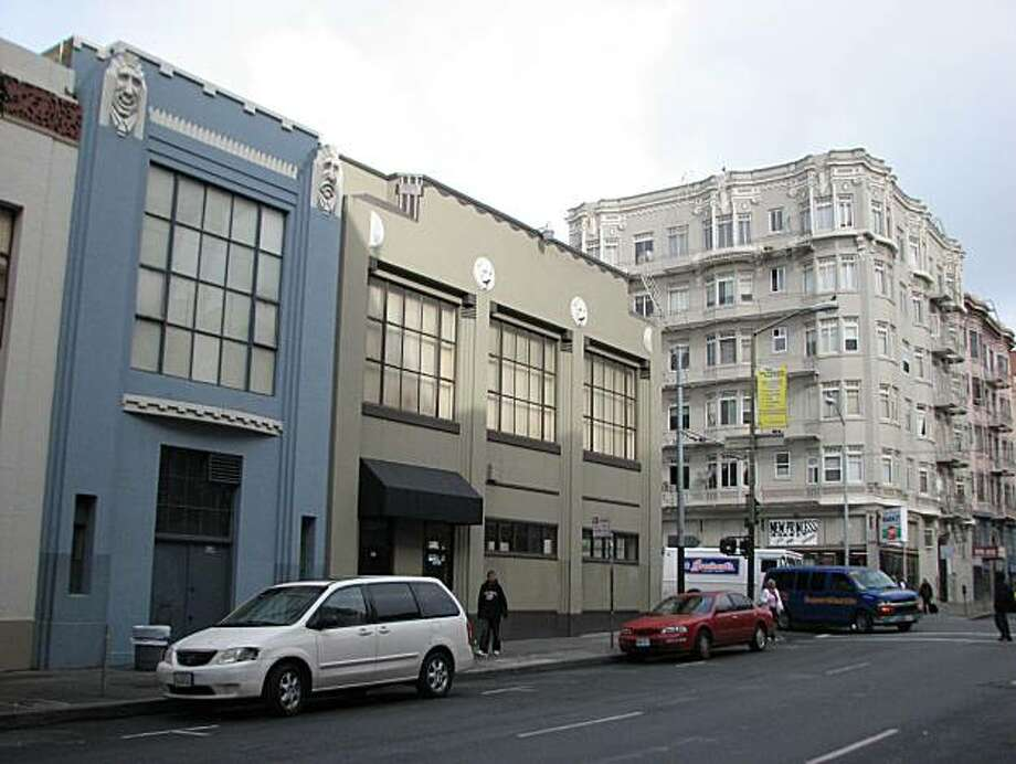 Here's an incongruous Tenderloin sight: two buildings erected to serve as movie reel warehouses, with bits of decoration that survive amid the drear of this hardscrabble 'hood Photo: John King, The Chronicle