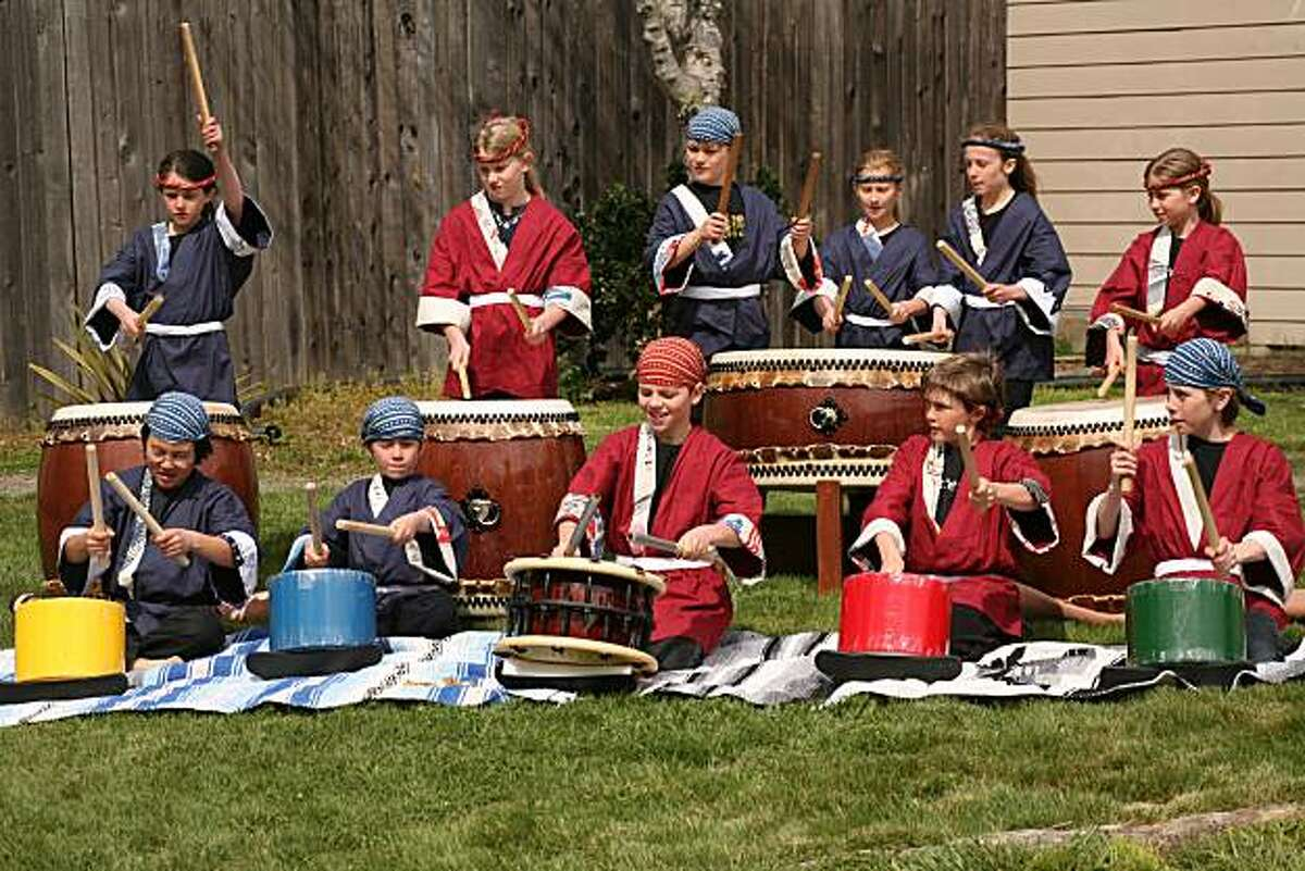 At the New Village School, students from second grade on up practice taiko drumming once a week. The students will perform this weekend.