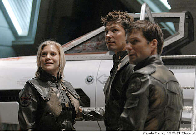 "BATTLESTAR GALACTICA: (l-r) Katee Sackhoff as Kara ""Starbuck"" Thrace, Michael Trucco as Anders, Jamie Bamber as Lee ""Apollo"" Adama. Photo: Carole Segal,, SCI FI Channel"