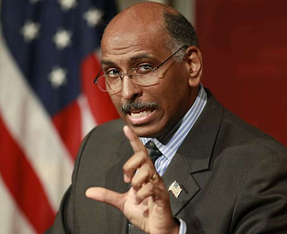 In this Feb. 3, 2010 file photo Republican National Committee Chairman Michael Steele speaks at the John F. Kennedy School of Government on the campus of Harvard University, in Cambridge, Mass.  A federal court Friday denied a Republican Party bidto raise soft money, the unlimited donations from corporations and individuals banned by a 2002 campaign finance law. In a separate ruling, judges said a conservative group can raise unlimited sums for independent election ads but must regularly discloseits donors. Photo: Steven Senne, AP