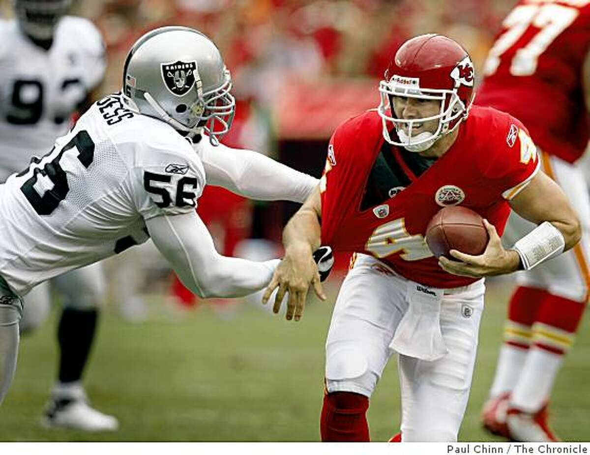 Derrick Burgess harrasses Chiefs quarterback Tyler Thigpen in the second quarter of the Oakland Raiders vs. Kansas City Chiefs football game at Arrowhead Stadium in Kansas City, Mo., on Sunday, Sept. 14, 2008.