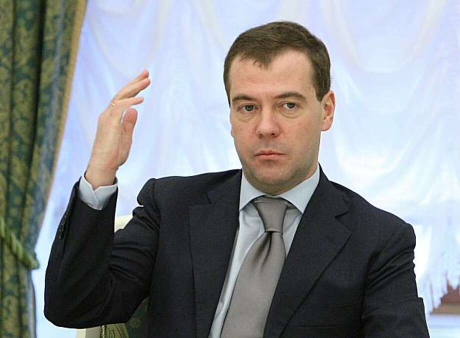 Russian President Dmitry Medvedev seen at his meeting with the leadership of the dominant United Russia party in the Moscow Kremlin on Thursday, March 4, 2010. Photo: Mikhail Klimentyev, AP