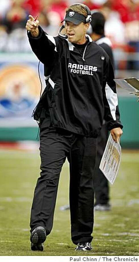 Head coach Lane Kiffin approved of a Chiefs holding penalty resulting in a Raiders first down in the second quarter of the Oakland Raiders vs. Kansas City Chiefs football game at Arrowhead Stadium in Kansas City, Mo., on Sunday, Sept. 14, 2008. Photo: Paul Chinn, The Chronicle