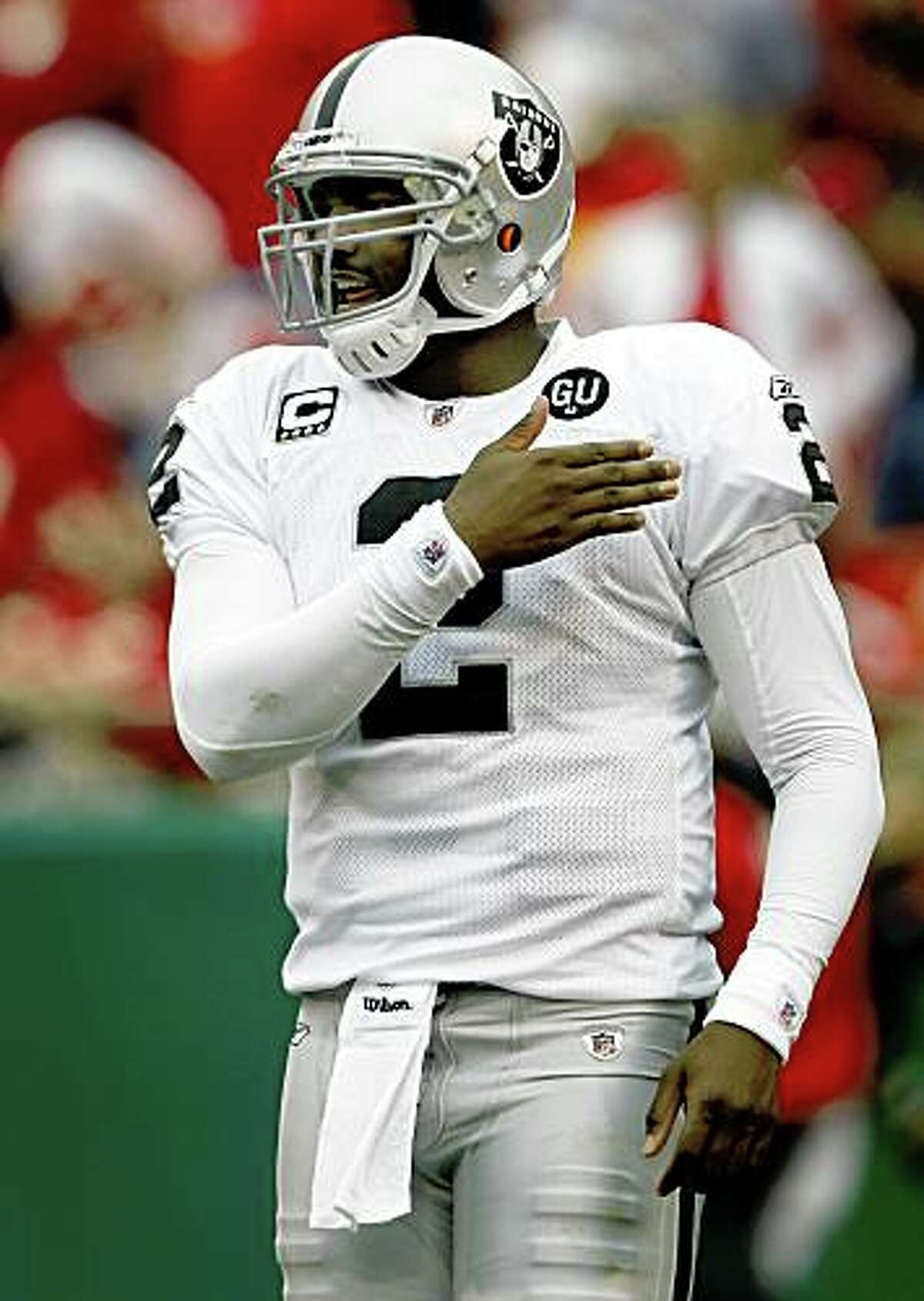 JaMarcus Russell had the Oakland Raiders moving in the right direction against the Kansas City Chiefs at Arrowhead Stadium in Kansas City, Mo., on Sunday, Sept. 14, 2008.