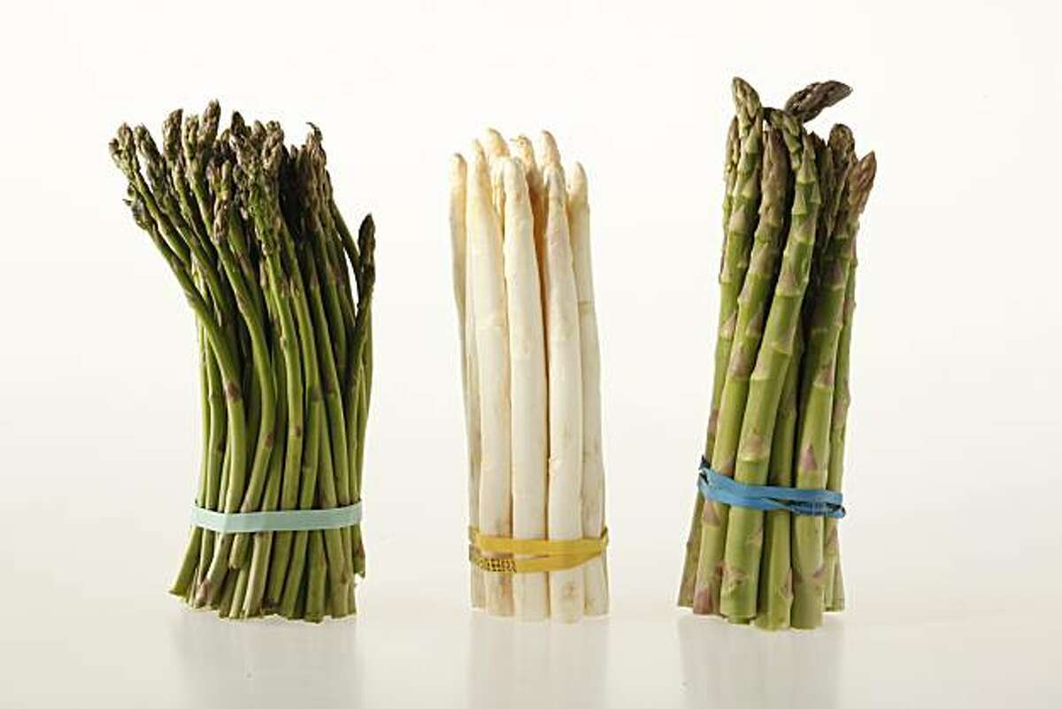 Bunches of different asparagus in San Francisco, Calif., on March 3, 2010.
