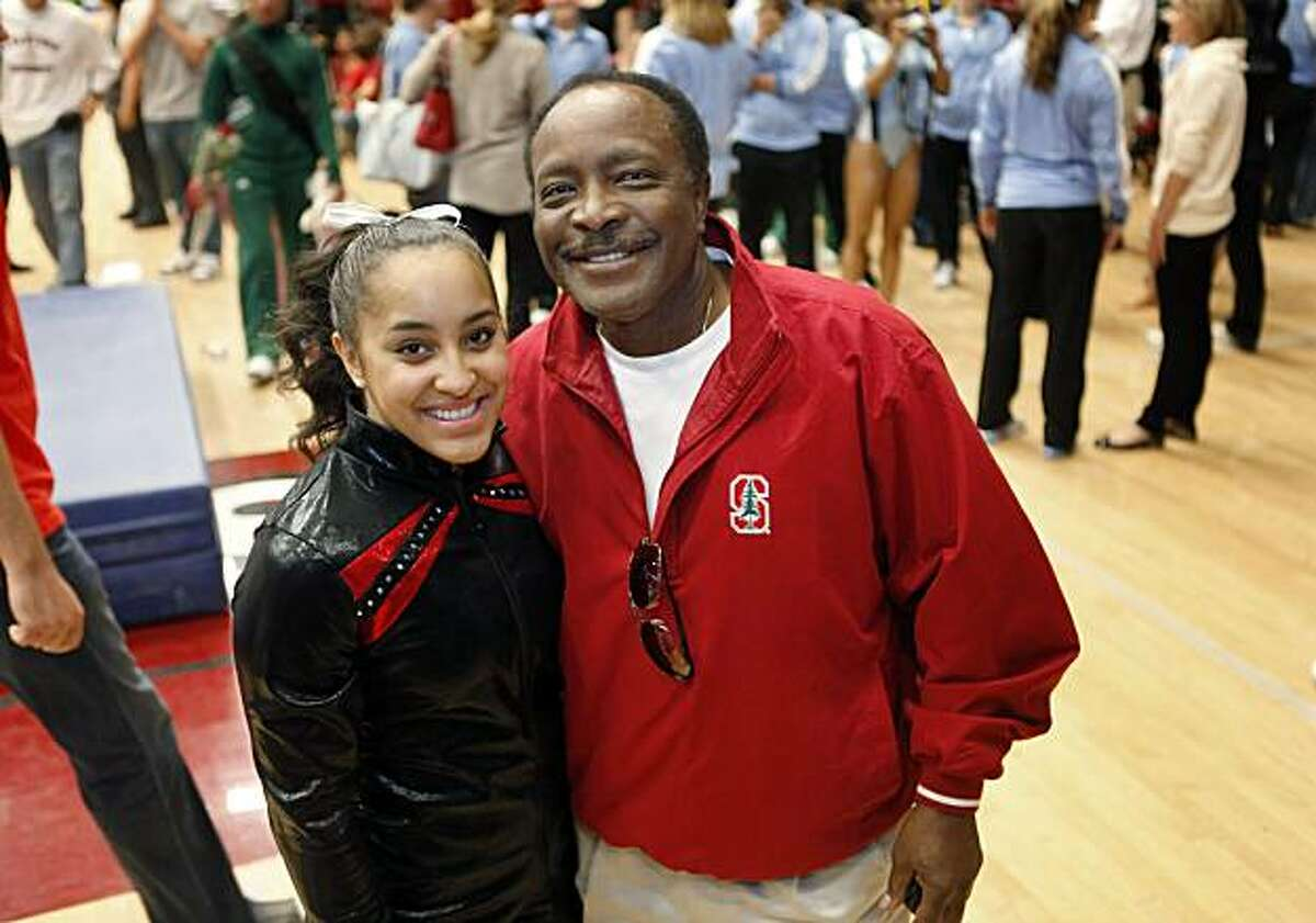 Stanford gymnast Ashley Morgan with her father, Baseball Hall of Famer, Joe Morgan, after a gymnastics competition at Stanford University in Palo Alto, Calif., on Sunday, February 28, 2010.