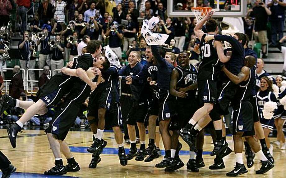 The Butler Bulldogs celebrate a 63-56 victory over Kansas State in the West Regional final of the men's NCAA Basketball Tournament at EnergySolutions Arena in Salt Lake City, Utah, on Saturday, March 27, 2010. (Rich Sugg/Kansas City Star/MCT) Photo: Rich Sugg, MCT