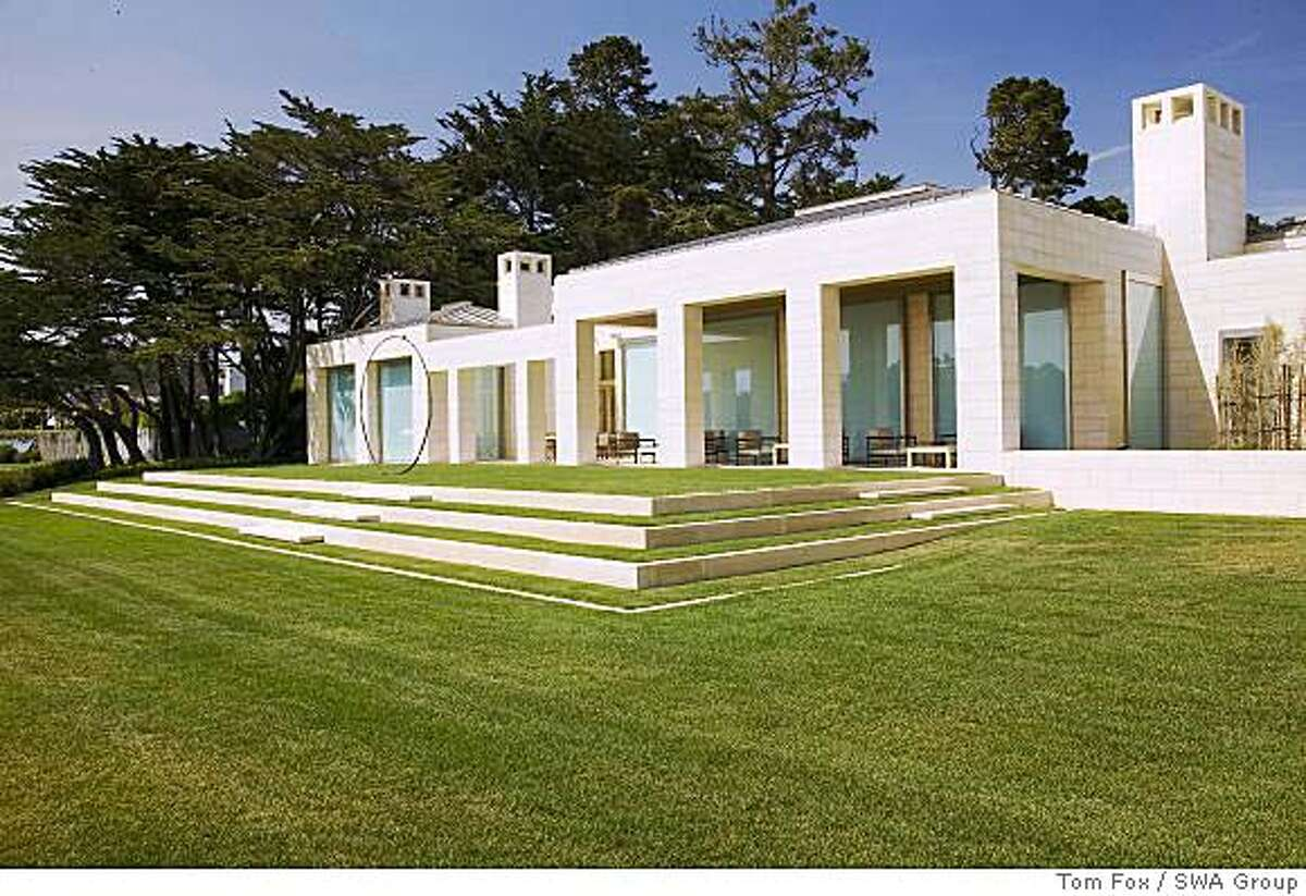 Sangiacomo residence, Pebble Beach: terraced lawn designed by landscape architect William Callaway