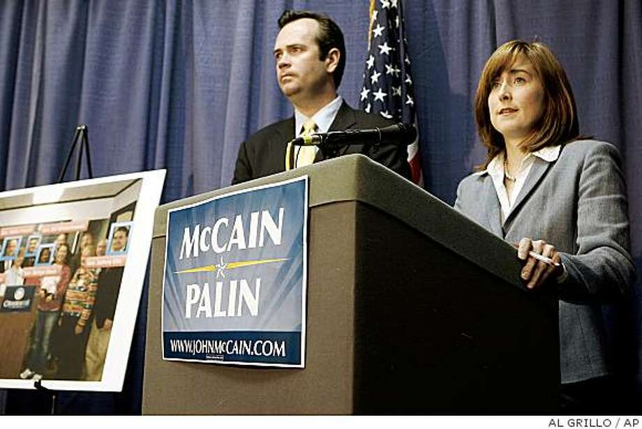 John McCain campaign spokespeople Meghan Stapleton, right, and Edward O'Callaghan answers question concerning  Alaska Gov. Sarah Palin's firing of her former public safety commissioner Walt Monegan, during a news conference in Anchorage, Alaska, Tuesday, Sept. 16, 2008. Alaska's attorney general said state employees subpoenaed in the investigation of Gov. Palin will not testify, and asked that the subpoenas be withdrawn. (AP Photo/Al Grillo) Photo: AL GRILLO, AP