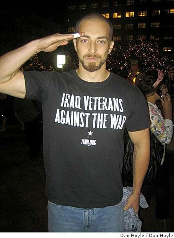 1. National television caught Iraq War veteran Adam Kokes, 26, of Santa Fe, NM wearing his beliefs during Sen. John McCain's acceptance speech. Photo: Dan Hoyle