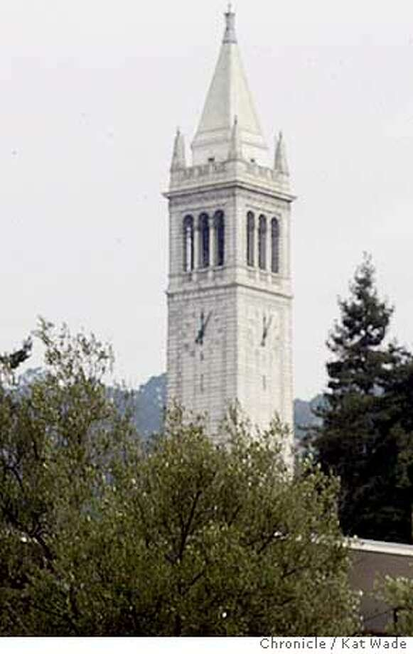 HOMECOM_108_KW.jpg  Students pass by the canned food Campanile which resembles the actual Campanile in the background when during the first Homecoming in 40-years at University of California, Berkeley, students built campus landmarks with canned foods that will be donated to the Alameda Food Bank during Greek Week on Thursday 10/2/03 in Berkeley. The Campanile was built by student homecoming team Beta .  Kat Wade / The Chronicle  Ran on: 07-31-2006  Berkeley -- the city that includes the university and its campanile -- is considering Net options. Photo: Kat Wade