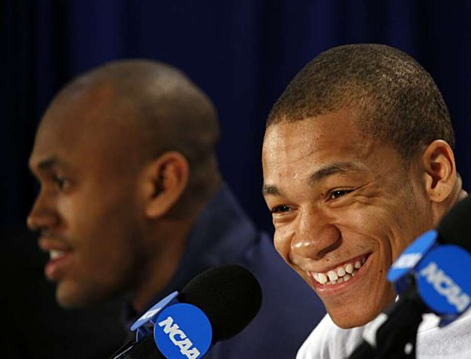 California's Jerome Randle, right, smiles during an NCAA college basketball news conference in Jacksonville, Fla., Saturday, March 20, 2010. California's Patrick Christopher, left, looks on. California is to play Duke in the second round on Sunday. Photo: Steve Helber, AP