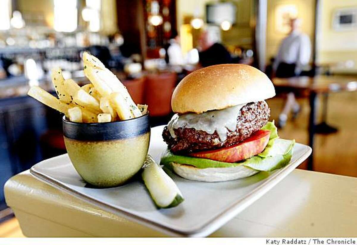 The grass-fed burger served with fries at at Farley Bar in the Cavallo Point resort in Fort Baker in Sausalito, Calif. on Wednsday, August 27, 2008.