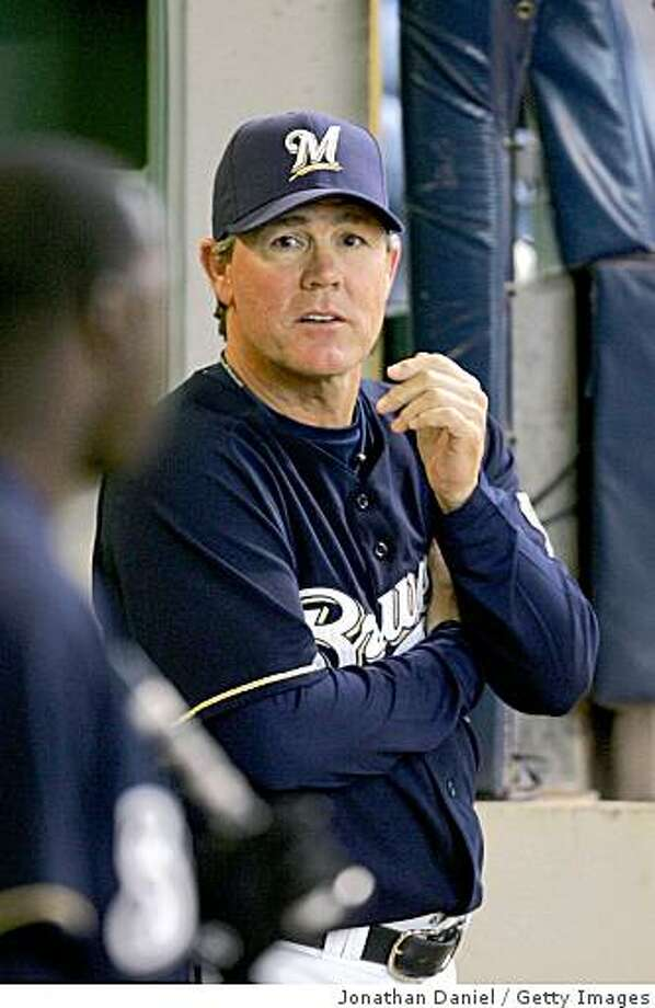 MILWAUKEE - MAY 29: (FILE PHOTO) Manager Ned Yost #3 of the Milwaukee Brewers watches as his team takes on the Atlanta Braves on May 29, 2008 at Miller Park in Milwaukee, Wisconsin. It was announced that the Milwaukee Brewers fired manager Ned Yost and replaced him with third-base coach Dale Sveum as the interim manager for the remainder of the season on September 15, 2008 in Milwaukee, Wisconsin.  (Photo by Jonathan Daniel/Getty Images) Photo: Jonathan Daniel, Getty Images