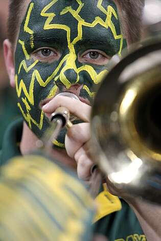 HOUSTON - MARCH 26:  A band member of the Baylor Bears during play against the St. Mary's Gaels during the south regional semifinal of the 2010 NCAA men's basketball tournament at Reliant Stadium on March 26, 2010 in Houston, Texas. Photo: Ronald Martinez, Getty Images