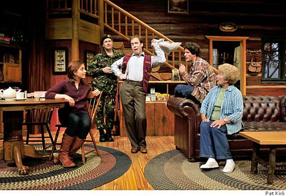 "Left to right: Anna Bullard, Steve Irish, Louis Lotorto, Aaron Wilton and Phoebe Moyer in San Jose Repertory Theatre's production of ""The Foreigner."""