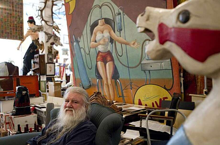 Ron Turner, the founder of Last Gasp, has created a gallery in the company's offices that includes all sorts of oddities in San Francisco, Calif., on Thursday, March 18, 2010. Photo: Laura Morton, Special To The Chronicle