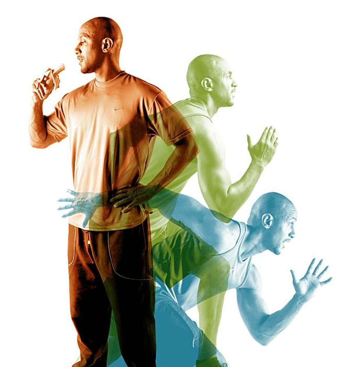 Photo illustration of an athlete eating before exercising. Photos by Russell Yip; illustration by Erick Wong