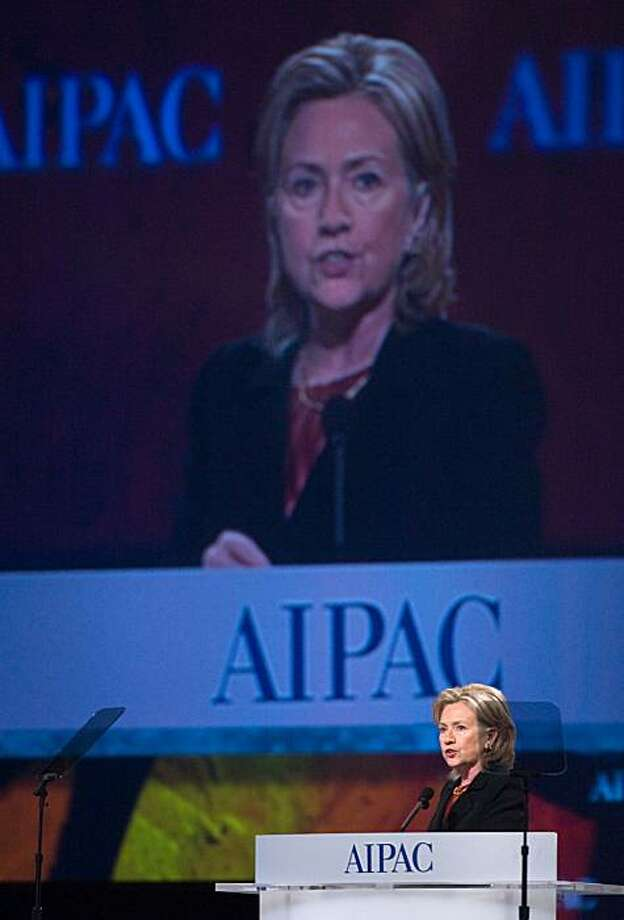 "US Secretary of State Hillary Clinton addresses the annual American Israel Public Affairs Committee (AIPAC) policy conference in Washington on March 22, 2010. Clinton urged Israel to make ""difficult but necessary choices"" for Middle East peace but promised her ""rock solid"" support for its security. Photo: Nicholas Kamm, AFP/Getty Images"